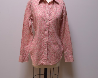 VINTAGE Organically Grown by ARPEJA Pink Floral Button Front Cotton Shirt ~L~