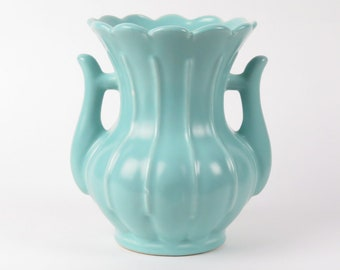 Rumrill pottery vase vintage Art Deco 1930s Red Wing aqua blue green ribbed handles