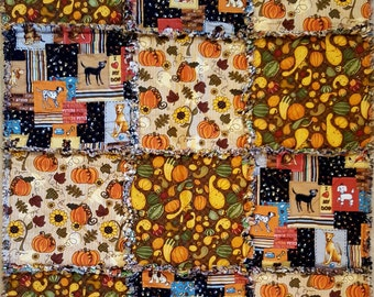 Small Holiday Rag Quilt - Dog Autumn Thanksgiving Theme