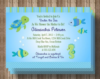UNDER THE SEA Baby Shower Invitation/ Printable Digital File/ Cute Sea Animals Ocean Fish Baby Shower  / Matching Party Items Available