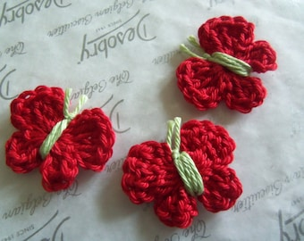 Set of Five Red Crochet Butterfly Appliques. Handmade Crochet Butterfly Appliques.