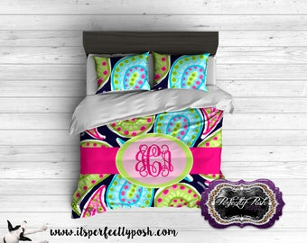 Girls Bright Paisley Bedding Custom Design and Personalized Comforter or Duvet with Monogram