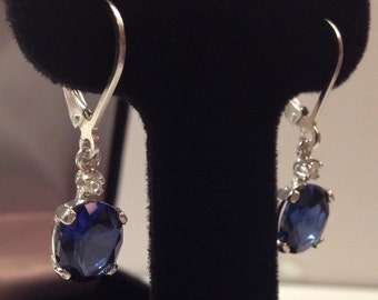 Beautiful 3.3ctw Sapphire Sterling Silver Earrings Oval Cut Blue Sapphire Leverback earrings Trending Jewelry Gift Trends bride mom accents