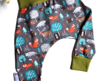Baby Harem Pants, Fox and Trees, Cake Smash Outfit, First Birthday, Unique Baby Shower Gift for Newborn to Toddler, Hiccups and Juice