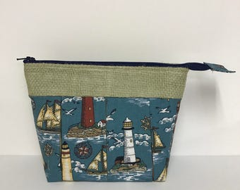 FREE SHIPPING!  Small  - Burlap and Lighthouses Zipper/Pleated Multi-Purpose Bag