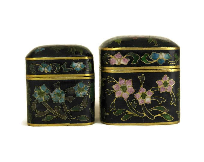 Chinese Cloisonne Trinket Boxes. Vintage Enamel Flower Pill Boxes. Asian Art Home Decor. Mother's Day Gifts.