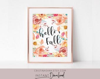 Hello Fall Sign, Hello Fall Printable, Hello Fall Sign, Autumn Decor, Fall Prints, Hello Fall Printable, Autumn Printable, Fall Home Decor