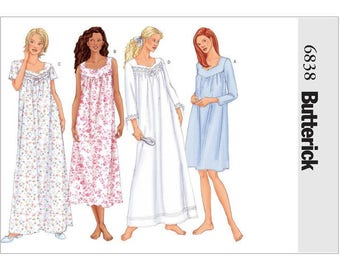 Sewing Pattern for Misses' & Misses' Petite Diamond-Neck Nightgowns, Butterick Pattern 6838, Sleepwear, Nightgowns, Womens Nightgown Pattern