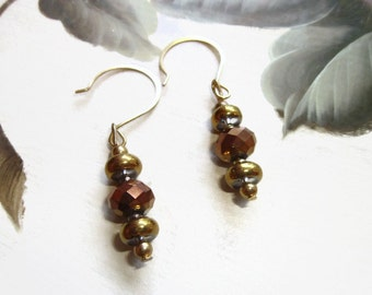 Rich Bronze Gold Glass Metallic Gloe Dangle Earrings Subtle Glitzy Style Toned Down Glam, Handmade Earrings, Hook Ear Wires