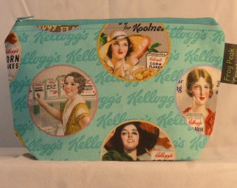 """Vintage """"Kelloggs"""" - Notions Pouch - zippered, cosmetic, knitting/crochet project bag"""