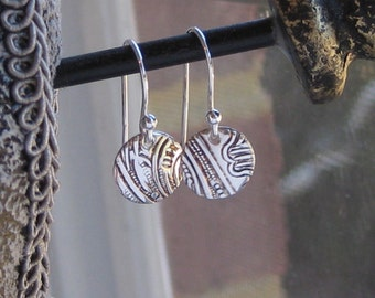 Silver plated earrings, embossed, repurposed silver platter, recycled, upcycle vintage flatware, antique silverware jewelry READY TO SHIP