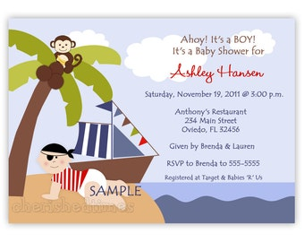 Baby Pirate For a Girl or Boy Baby Shower Invitation (Digital File)