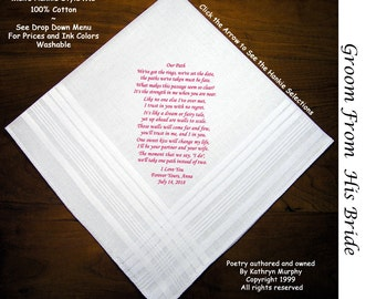 Grooms Gift Handkerchief From the Bride 0702 Sign and Date Free  2 Wedding Hankie Styles & 8 Ink Colors. Grooms Gift Hankerchief from Bride