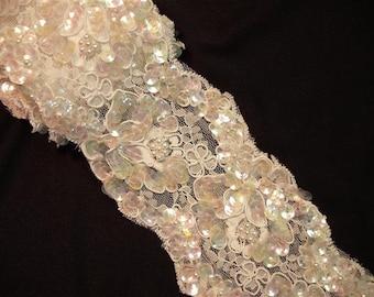 Vintage Lace - White Pearl & Sequin Bridal Trim Remnant - 1.5 Yard - (A)