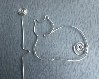 Sleeping CAT SHAWL PIN wirework