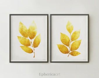 Yellow wall posters, Dining room wall art Mustard yellow Wall decor Set of 2 Leaves Botanical posters 12x16, 14x18 Printable Home wall decor