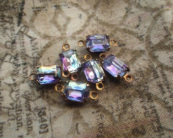 Ultraviolet Purple and Blue Octagon 8x6mm Glass Connectors Brass Ox 6 Pcs