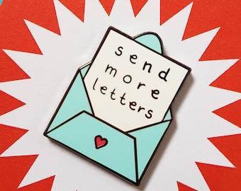 Send More Letters Enamel Pin - Snail Main Pin - Envelope - Love Note - Pen Pal Pin - Correspondence is Cool - Zabby Allen