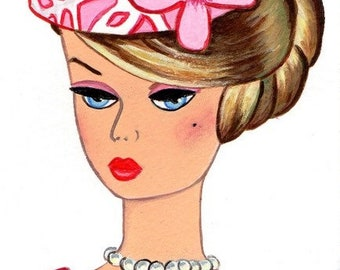 Original Acrylic Collectable Postcard size Painting Vintage Retro Silkstone  Barbie girl doll pink hat size 6 x 4 inches