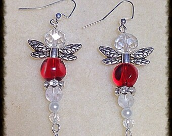 Dragonfly Crystal Red and White Earrings