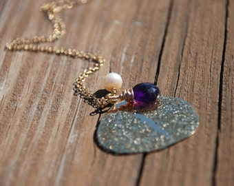 Natural Amethyst, Fresh Water Pearl and Gold Filigree Leaf 14K Gold Filled Necklace