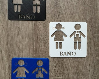 "3D Printed Bathroom ""Bano"" Sign"