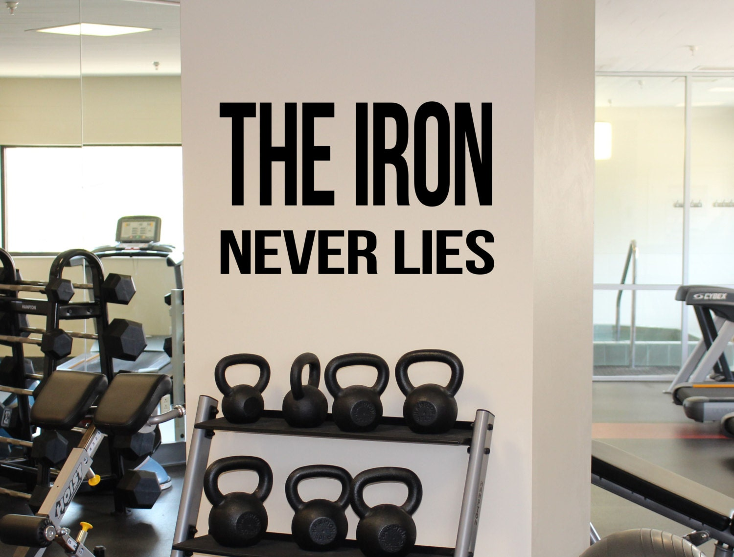 The Iron Never Lies Gym Motivation Quote Vinyl Decal Workout