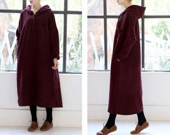 Free Style Cotton Hoodie/ Long Dress with Cotton Lining/ Winter Coat/Wine red/12 Colors/ Any Size