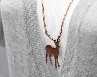 Deer Necklace Copper Reindeer Pendant Woodland Animal Deer Jewelry - N142