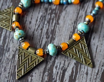 Unlisted - Aztec Triangle Necklace - Bohemian Triangle Necklace - Statement Necklace - Chunky Triangles Necklace - Bead Soup Jewelry