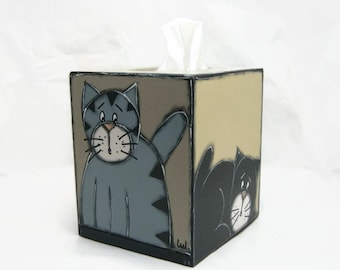 Square tissue box painted wood with cats - Square tissue box cover with cats