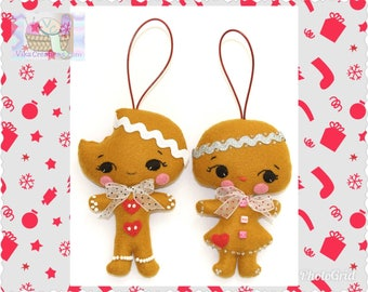 Set of two Gingerbread Ornaments, Boy and Girl, Figurine, Doll, Handmade Fabric Felt Decoration, Christmas Decoration
