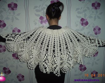 Wonderful warmers shoulder Cape capelet White/hand crocheted /on order