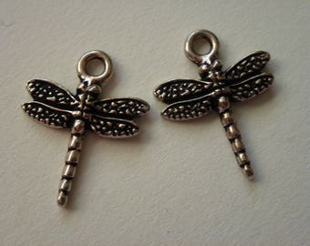 Antique Silver Pewter Dragonfly Charms