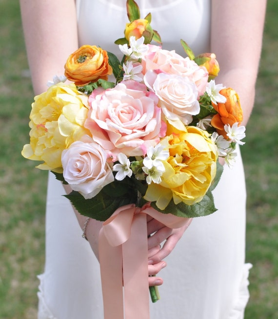 Wedding Bouquet Yellow Peony Peach and Pink Rose Orange