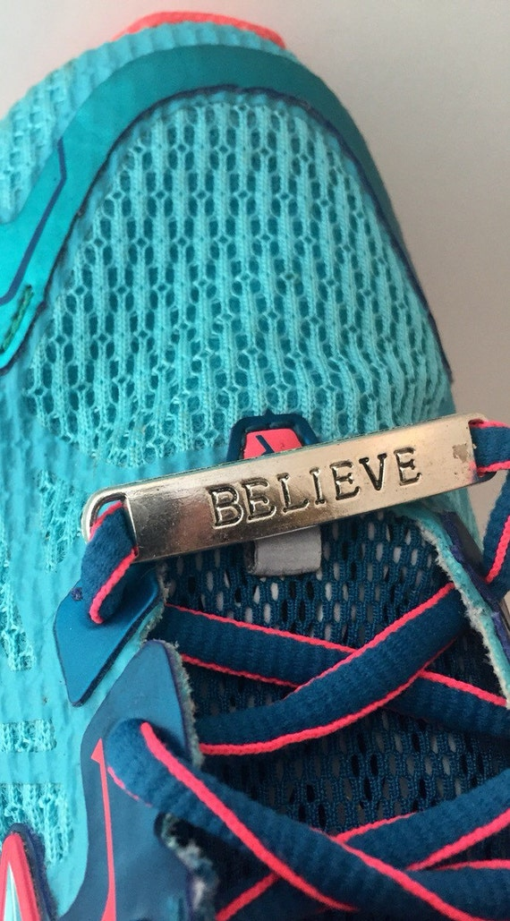 CLEARANCE Shoelace Charms Running Shoe Tags BELIEVE Shoe Charms Shoe Lace Charm Sports Jewelry Athlete Team Gifts Charms Fitness Runner