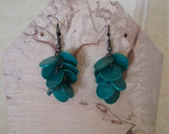 Earrings green blue flat beads
