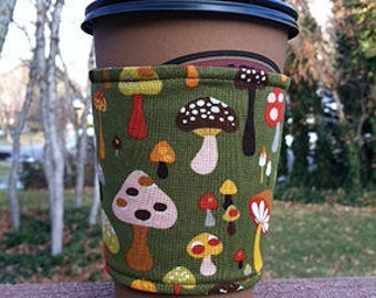 FREE SHIPPING UPGRADE with minimum -  Fabric coffee cozy / cup holder / coffee sleeve / drink sleeve / tea sleeve -- Mushrooms on Sage Green