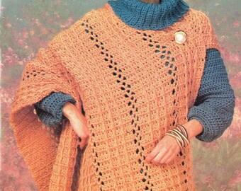 Crochet Shawl WRAP Poncho Womens Pattern, Crochet Wrap Cloak Pattern, Crochet Womens Pattern- Instant Download