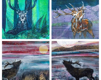 Scottish Stags - a pack of 4 art cards produced from original artwork by Louise Worthy Artist & Printmaker