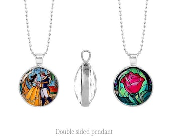 Enchanted Rose Necklace Beauty and the Beast Pendant Double Sided Pendant Chain Two Sided Pendant