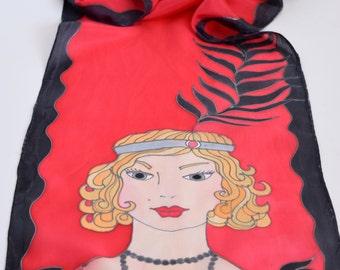 Red black silk scarf with flapper girl, MISS Scarlet art scarf handpainted silk