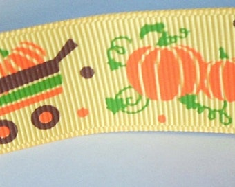 Colorful yellow and orange ribbon with Halloween pumpkin pattern