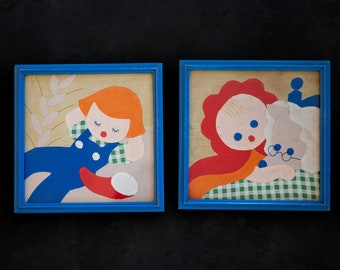 Vintage Childrens Wall Textiles  - Vintage textiles in original frames - Nursery Decor