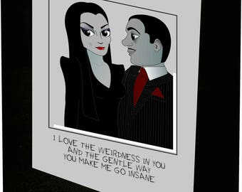 Morticia and Gomez Greeting Card