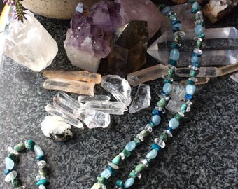 Aquamarine and turquoise - natural stone necklace
