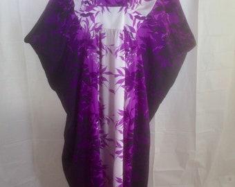 Hawaiian Aloha Caftan MuuMuu Dress One Size Royal Creations Purple Hostess Lanai