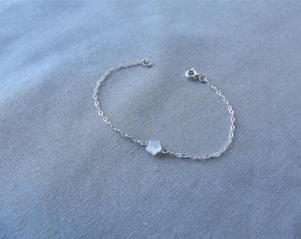 Small bracelet star bracelet mother of Pearl 925 sterling silver fine chain minimalist jewelry, Christmas gift