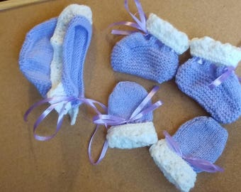 Lace Edged Bonnet, Mitts & Booties Set