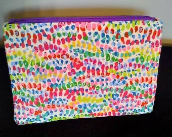 Multicolored small zipper pouch pencil case